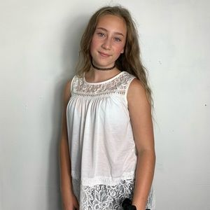 White lace sleeveless blouse with back slit